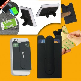 Cellphone holder silicon single card holder color black