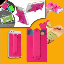 Cellphone holder silicon single card holder color pink