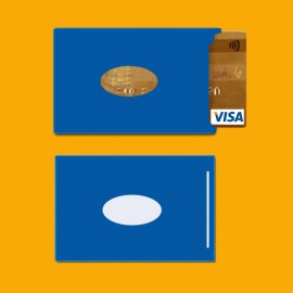 RFID shielded single card holder color blue